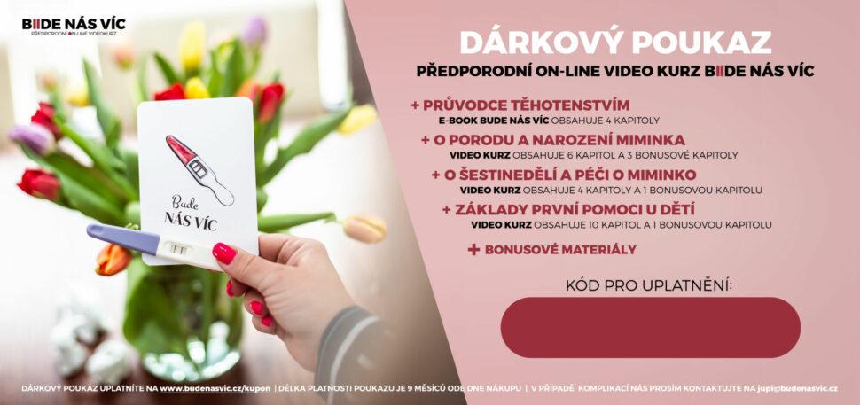 Předporodní online videokurz BUDE NÁS VÍC je skvělý dárek pro vaši kamarádku, dceru či vnučku. Využijte možnosti zakoupení dárkového poukazu.